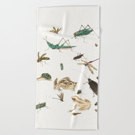 Insects, frogs and a snail Beach Towel