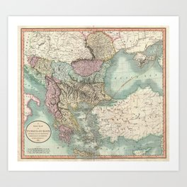 Vintage Map of The Balkans and Turkey (1801) Art Print