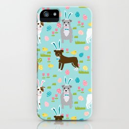 Pitbull easter dog breed pet patter rescue dog pibble lovers spring easter eggs iPhone Case