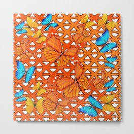 YELLOW BLUE ORANGE BUTTERFLY ABSTRACT WORLD Metal Print