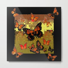 Abstracted Black & Orange Monarch Butterflies Metal Print