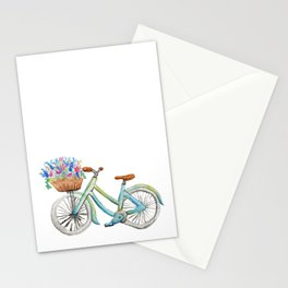 Spring Vintage Bicycle | Watercolor Illustration Stationery Cards