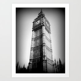 Ben looms in black and white, too. Art Print
