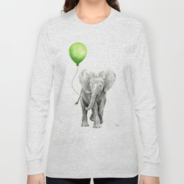 Baby Elephant with Green Balloon Long Sleeve T-shirt