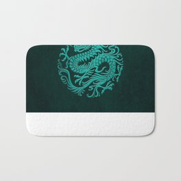 Traditional Teal Blue Chinese Dragon Circle Bath Mat
