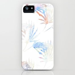 Palmetto Fronds Pattern Pastel Pink Blue iPhone Case