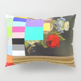 A Painting of Flowers With Color Bars Pillow Sham