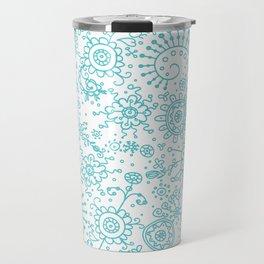 Graphic Ink Doodles (aqua) Travel Mug