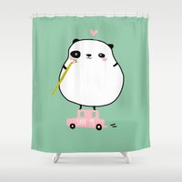 pandas Shower Curtains featuring save pandas by Sucoco