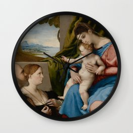 Lorenzo Lotto - Madonna and Child with Two Donors Wall Clock