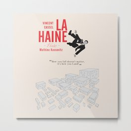 La Haine (Hate) Vincent Cassel, Mathieu Kassovitz, alternative movie poster, banlieue french film Metal Print