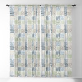 Jungle Set | hand illustrated quilt pattern Sheer Curtain