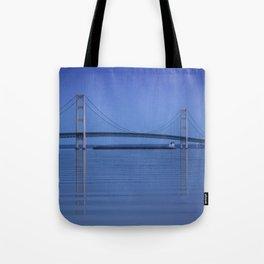 The Mackinac Bridge & the Great Lakes Freighter Tote Bag
