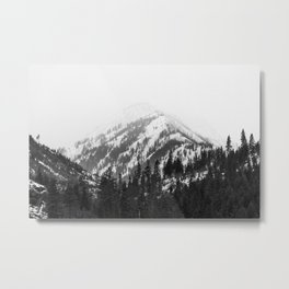 Fading Mountain Winter - Snow Capped Nature Photography Metal Print