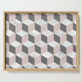 Geometric, Marble, Blush Pink, Gray and White, Square, Cubed, Abstract Serving Tray