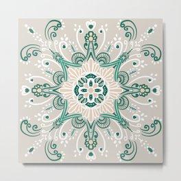 Mandala Greens Metal Print