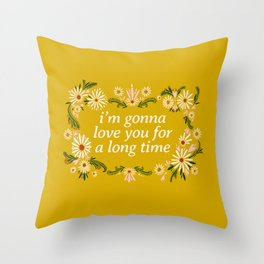 Maggie Rogers Quote Floral Drawing  Throw Pillow