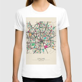 Colorful City Maps: Dallas, Texas T-shirt