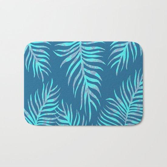 Fern Pattern On Blue Background Bath Mat