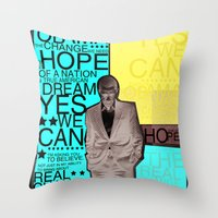 obama Throw Pillows featuring Barack Obama by kaseysmithcs