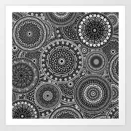 Dot Art Circles Grayscale Art Print