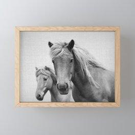 Horses - Black & White Framed Mini Art Print