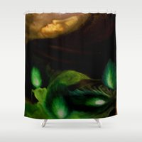 ohm Shower Curtains featuring OHM by Angelica Gonzalez Donaire