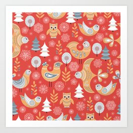 Fairy forest, deer, owls, foxes. Decorative pattern in Scandinavian style on a red background. Folk Art Print
