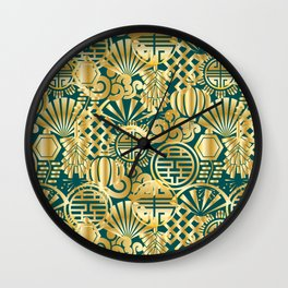 Chinese Symbols in Gold and Emerald Jade Green Wall Clock