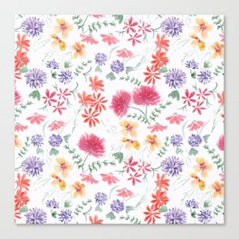 Bright flowers on a white background. Canvas Print