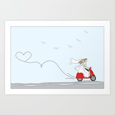 Wedding illustration - bride and groom on a red scooter Art Print