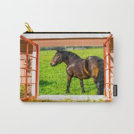 Horse Farm Cottage Window View Carry-All Pouch