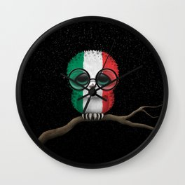 Baby Owl with Glasses and Italian Flag Wall Clock