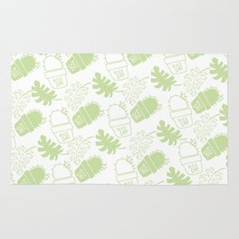 Hand painted mint green floral cactus tropical leaves typo Rug