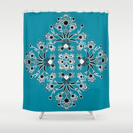 Teal Peacock Feather Inspired Square Shower Curtain