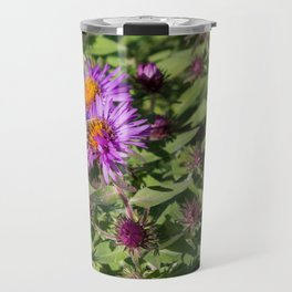 Cabbage Butterfly on Purple Aster Travel Mug