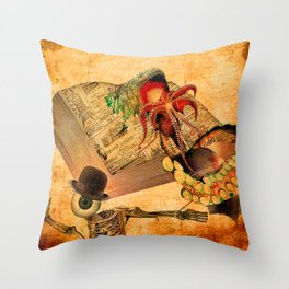 Monsieur Bone in the book of the deaths Throw Pillow