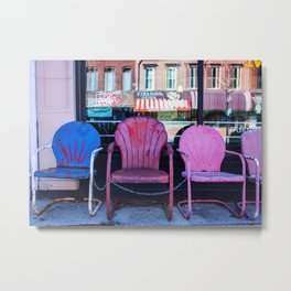 Chairs, from my street photography collection Metal Print