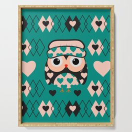 Owl and heart pattern Serving Tray