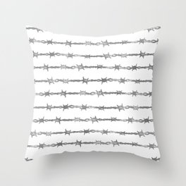 barbed wire stripe - white Throw Pillow