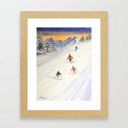 Skiing Family On The Slopes Framed Art Print
