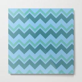 zigzag  (tosca color variations ) Metal Print