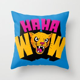 HAHA WOW COUGAR Throw Pillow