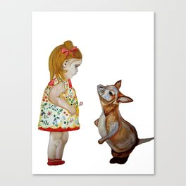 Child and Small Kangaroo (Watercolour) Canvas Print