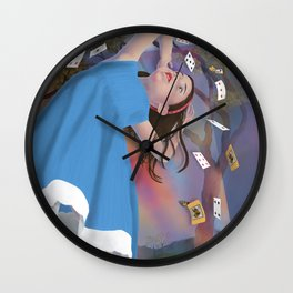 Flying Cards Dissolve Alice's Dream Wall Clock
