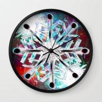 snowflake Wall Clocks featuring Snowflake by Sarah Maurer