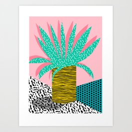 In the Mix - 80's neon house plant tropical garden container garden art print botanical natural  Art Print