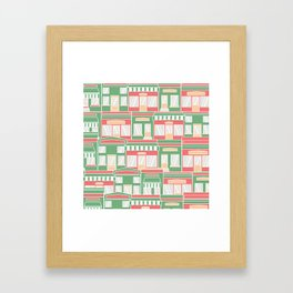 Pattern with colorful houses Framed Art Print