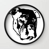 pitbull Wall Clocks featuring COACH - BLACK by Kirk Scott