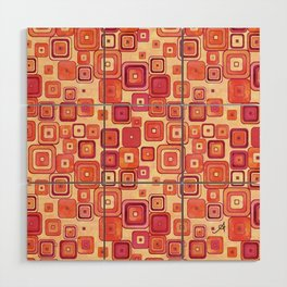 Watercolour Squares Red Amanya Design Wood Wall Art
